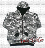Reversible Zipper Hood (Black/City Camo)
