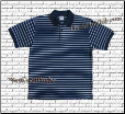 Navy Pro Club Polo Shirt w/ SKY BLUE stripes