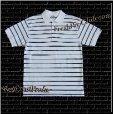 White Pro Club Polo Shirt w/ double NAVY stripes